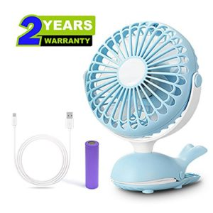 Cute Whale Design Rechargeable Usb Personal Silent Desk Fans Adjule Tilt Whisper Quiet Operation For Treadmill Dorm Bed Tent Camp Blue Super Easy